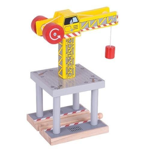 Деревянная игрушка Большой желтый подъемный кран