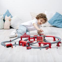Железная дорога игрушка Служба спасения, 92 предмета (на батарейках)
