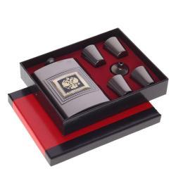 Подарочный набор из 6-ти предметов, цвет серый, фляжка 250 мл, 4 стопки по 30 мл, воронка, 21x17x4 см