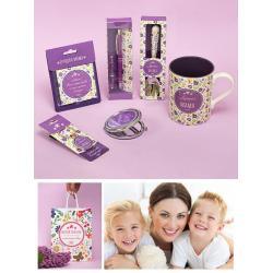 Подарочный набор из кружки, ложки, ручки, брелока на ключи, магнита и зеркала Лучшая мама