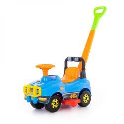 Автомобиль со звуковым сигналом Джип-каталка с ручкой, голубой