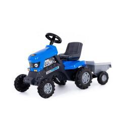 Каталка-трактор Turbo, с полуприцепом, цвет синий