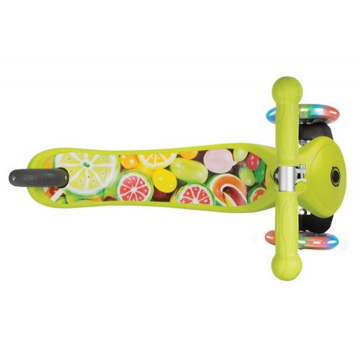 Самокат Globber Primo Fantasy Lights со светящимися колесами (цвет/дизайн зеленый/фрукты)