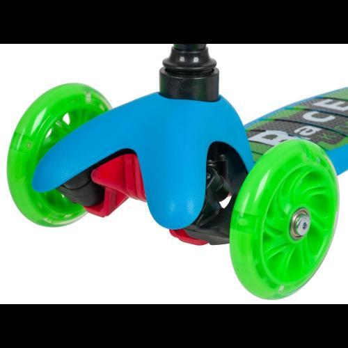 Самокат-кикборд со светящимися колесами Novatrack. Disco-kids Basic (дизайн машинки)
