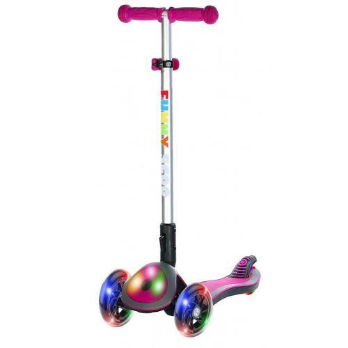 Самокат Funny Scoo Glow FL, c подсвечивающейся декой и колесами (цвет розовый), арт. MS-945