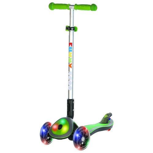 Самокат Funny Scoo Glow FL, c подсвечивающейся декой и колесами (цвет зеленый), арт. MS-945