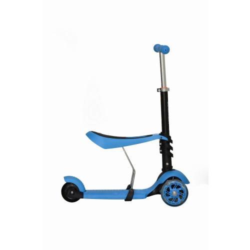 Самокат-беговел MG023, светящиеся колёса, цвет голубой