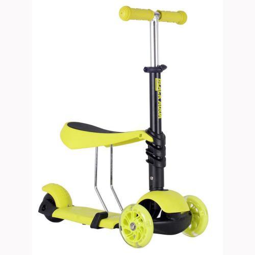 Самокат-беговел MG023, светящиеся колёса, цвет лимонный