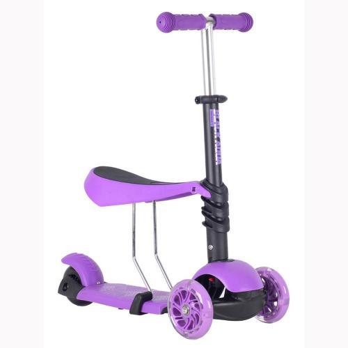 Самокат-беговел MG023, светящиеся колёса, цвет фиолетовый