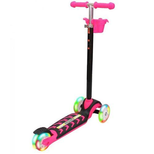 Самокат MIDI, со светящимися колесами, цвет розовый