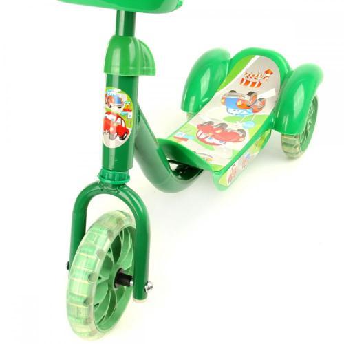 Самокат 3-х колесный, зеленый