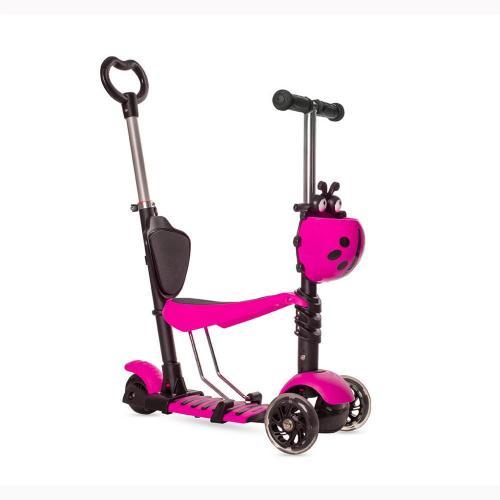 Самокат-беговел MG023D, с ручкой, со светящимися колесами, цвет розовый