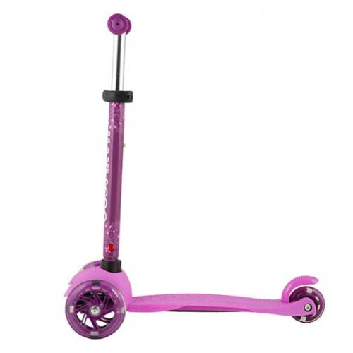 Самокат Baby 2021, со светящимися колесами, цвет розовый