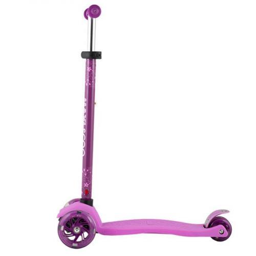 Самокат Junior 2021, со светящимися колесами, цвет розовый