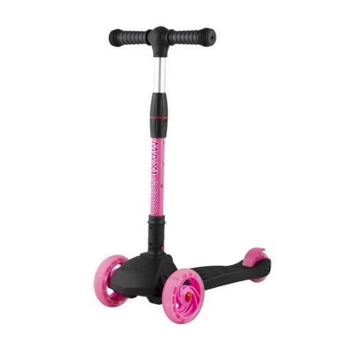 Самокат трехколесный Baby Delux 2021, со светящимися колесами, черный с розовый