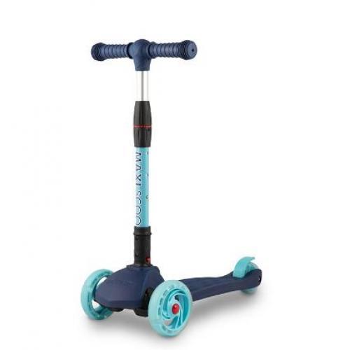 Самокат трехколесный Baby Delux 2021, со светящимися колесами, синий