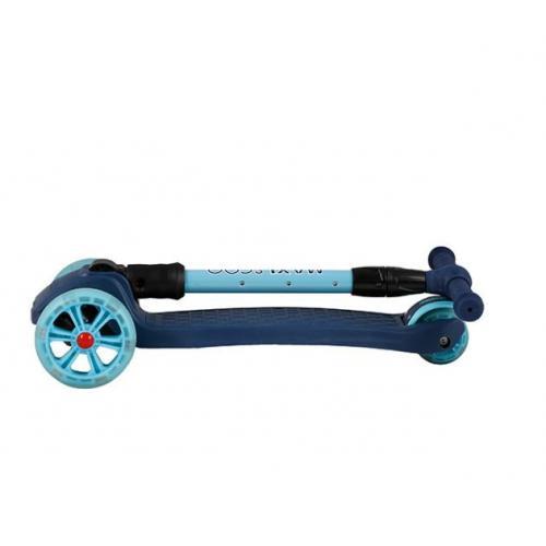Самокат трехколесный Junior Delux 2021, со светящимися колесами, синий
