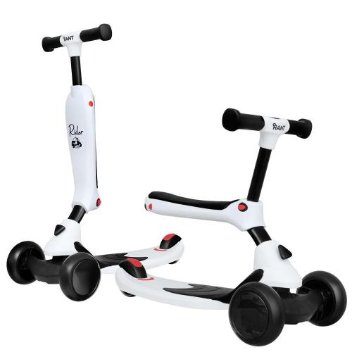 Самокат-беговел Rider, со светящимися колесами, цвет белый