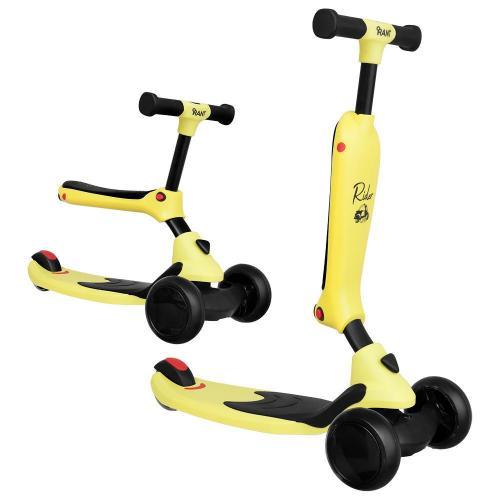Самокат-беговел Rider, со светящимися колесами, цвет желтый