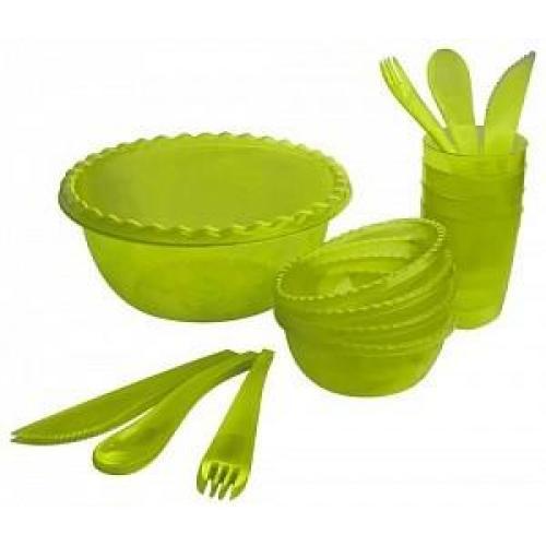 Набор для пикника Фазенда на 4 персоны, зеленый прозрачный