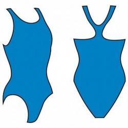 Купальник женский для бассейна Atemi BW3 3, борцовка с вырезом, размер 44 (голубой)