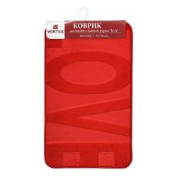 Коврик для ванной с памятью формы Love, 45х75 см, красный