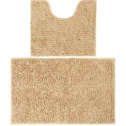 Набор ковриков с антискользящим покрытием Бежевый, 50x45x2,5 см, 80x50x2,5 см, 2 штуки