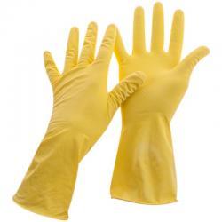 Перчатки резиновые хозяйственные (желтые), размер S (12 упаковок в комплекте) (количество товаров в комплекте 12)