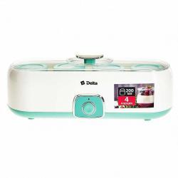 Йогуртница электрическая Delta, 20 Вт, 4 баночки по 200 мл, цвет белый, зеленый, артикул DL-8402