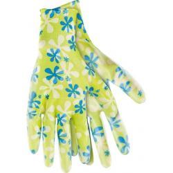 Перчатки садовые из полиэстера с нитриловым обливом, зеленые, размер M