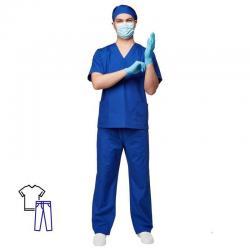 Костюм хирурга мужской м05-КБР, васильковый (размер 48-50, рост 182-188)