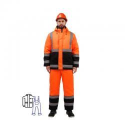 Костюм зимний мужской Зд01-КПК, с СОП, оранжевый/черный, размер 44-46, рост 170-176