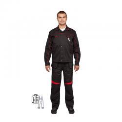 Костюм летний Л29-КПК, черный/красный, размер 52-54, рост 170-176