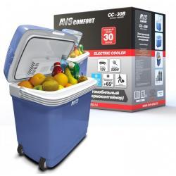 Холодильник автомобильный AVS CC-30B, 30 л, 12/220 В (с ручкой и колёсиками)