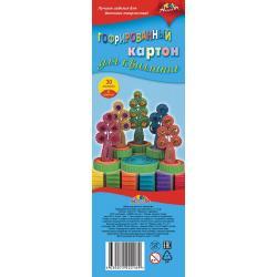 Картон цветной гофрированный для квиллинга, ширина 10 мм, 30 полос, 6 цветов, Деревья