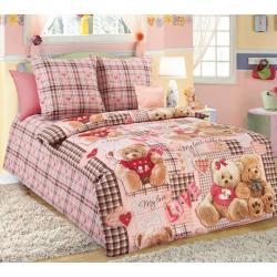 Комплект детского постельного белья Плюшевые мишки 1, ясельное, бязь (цвет коричневый, персиковый)