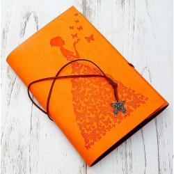 Блокнот Девушка с бабочками, 16х23, желтый
