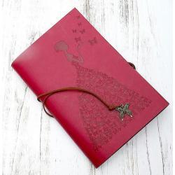 Блокнот Девушка с бабочками, 16х23, красный