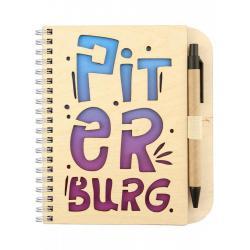 Блокнот на пружине Piter burg, 125x172 мм, с ручкой