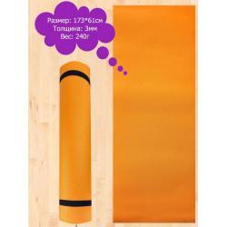 Коврик спортивный для фитнеса и йоги, M-1 (оранжевый)