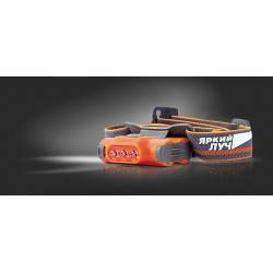 Фонарь Яркий луч LH-030 DROID оранжевый, налобный, 3 режима, 2xAAA
