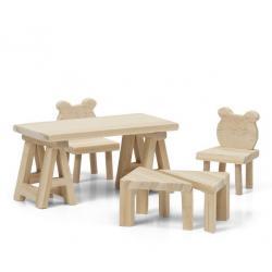 Набор деревянной мебели для домика Сделай сам. Стол и стулья