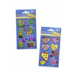 Стикеры Z-design. Наклейки детские веселые 3D сердечки, лягушки