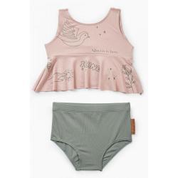 Купальник двухпредметный Happy Baby (лиф купальный + плавки), цвет pink&green, рост 80-86 см