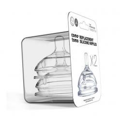 Соски для бутылочек Comotomo Natural Nipple Packs, переменный поток (Y), 6 месяцев+, 2 штуки
