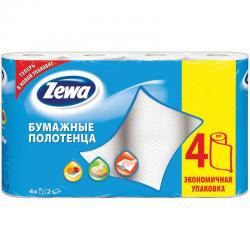 Полотенца бумажные Zewa, 2-х слойные, 4 рулона, белые