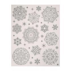 Новогоднее оконное украшение Серебряные хлопья снега, 30x38 см