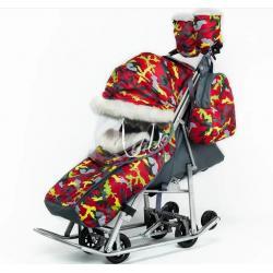 Санки-коляска Pikate Military (цвет красный)