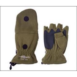 Перчатки рыболовные с откидной варежкой Mikado UMR-08G, оливковый (размер L)