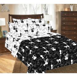 Комплект постельного белья Котофей 1, 2-х спальный, перкаль (цвет черный)